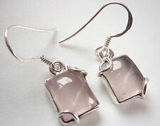 Rose Quartz Rectangular 925 Sterling Silver Dangle Earrings Corona Sun Jewelry