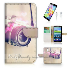 Samsung Galaxy S5 Print Flip Wallet Case Cover! Old Camera P1465