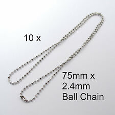 10 Silver Ball Chain Necklace 75cm