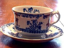 """Antique New Wharf Pottery Flow Blue Cup & Saucer In """" Louise """" Pattern C 1890"""
