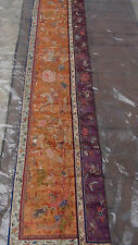 ANTIQUE 19c CHINESE FORBIDDEN STITCH POLICHROMR SILK EMBROIDERY PHOENIX BANNER