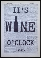 IT's vino O'CLOCK preventivo VINTAGE dizionario pagina Print Picture Wall Art divertente