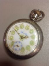 WORKS!! Vintage Hamilton 926 18s 17J Green Gold Porcelain Dial Pocket Watch