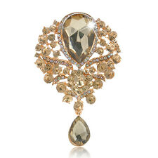 Wedding Jewelry Rhinestone Crystal Drop Pendant Brooch Pin Charm Badge Broach