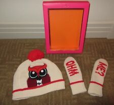 "KATE SPADE Pumice/OWL ""Who Me??"" Hat and Mitten Set in Box ~ S/M (ages 7-10) NEW"