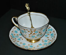 1950s Royal Chelsea Tea Cup and Saucer - Turquoise and Gold Floral Pattern 4688A