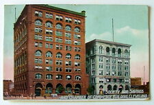 1911 POSTCARD SOCIETY FOR SAVINGS & CHAMBER OF COMMERCE BUILDING CLEVELAND OHIO