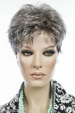 Blend of light grey in front to dark 56/51/44 Grey Short Pixie Wavy Straigh Wigs