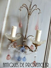Superbe applique Goutte rose Rare Pink drop Pampille Macaroni 1940 MURANO Sconce