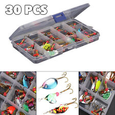 30pcs lot Colorful Trout Spoon Metal Fishing Lures Spinner Baits Bass Tackle new