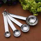 NEW 4PCS MEASURING SPOONS SET STAINLESS STEEL TEA&COFFEE MEASURE SCOOP NEW *A*