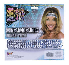 Silver Sequin Headband Fame Retro Disco Diva Dancer Fancy Dress