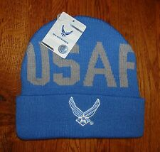 Embroidered U.S.Air Force Blue with Wing Logo Beanie Knit Stocking Watch Cap Hat