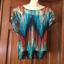 Junior's XL Womens M Crocheted Top with Cami Heart Soul Super Cute Colorful