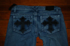 NEW Men's Xtreme Couture Leather Crosses Light Denim Jeans (32 x 30)