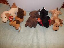 5) Original Retired Ty Beanie Baby Dogs Bones Gigi rufus Fetcher Tuffy dog