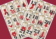 *Shabby*Advent*24 Geschenkanhänger zum Selbstausschneiden*Nostalgie*Weihnachten*