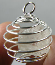 Pakistan 100% Natural Rough Raw Topaz Crystal Specimen in Spiral Cage Pendant