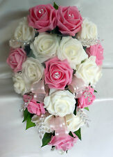 BRIDES TEARDROP BOUQUET , Wedding Flowers Ivory & pink roses with diamante