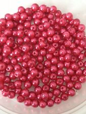 4mm Glass faux Pearls - Hot Pink (200 beads)