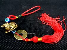 Brass Tone Feng Shui Money Chinese Lucky Coin Frog Toad Hanging Tassel Charm #wx
