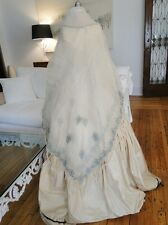 ANTIQUE SHAWL-CIRCA 1850 FINE ETHEREAL ORGANDY,GAUZE SHAWL W/TAMBOUR EMBROIDERY