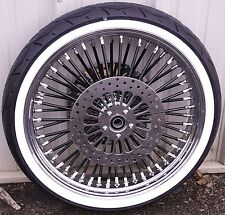Black 21 3.5 52 Fat Spoke Mammoth Front Wheel Tire Package Harley Touring 2017