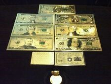Full Gold Banknote Set Mint Condition $1,$,5,10,20,50,$100 W/ Certificate+More!