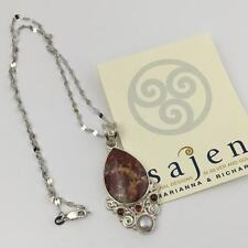 Sajen Mexican Crazy Lace Agate & Garnet Sterling Silver Pendant w/ Chain, New