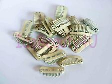 10 x HAIR PIECE CLIP EXTENSIONS SNAP CLIPS SM WHITE BLONDE 2.2 cm NO SILICONE
