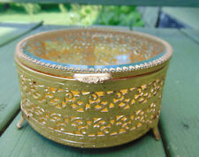 Vintage Round Beveled GLASS DISPLAY JEWELRY BOX Filigree FLORAL LACE