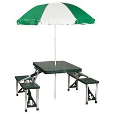 Portable Folding Picnic Table with Umbrella. Camping Park Beach Outdoor Suitcase
