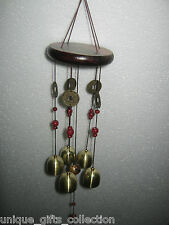 SMALL SIZE WINDCHIME BRASS METAL & WOODEN FENG SHUI 4 POSITIVE ENERGY IN UR HOME