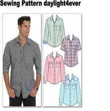 Men Western Shirt Sewing Pattern 6044 McCall's New S/Sleeve Long Sleeve 34-44  q
