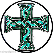 STAINED GLASS WINDOW ART - STATIC CLING  DECORATION - CELTIC DONEGAL CROSS GREEN