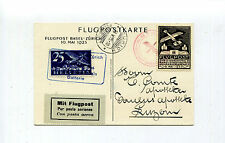Switzerland 1925 Air Mail Souvenir Postcard & Vignette Basel-Zurich Muller 151