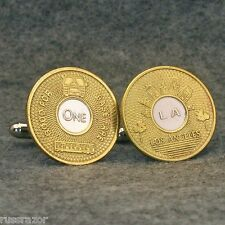 Los Angeles Vintage Transit Token Cufflinks, LA California Brass Bullseye