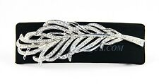 JUDITH LEIBER BELT BUCKLE WHITE DIAMONDS SWAROVSKI ON BLACK SATIN & METAL NEW