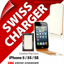 Swiss Charger White GENUINE LEATHER Etui Flip Case Cover for iPhone 5 / 5S / SE