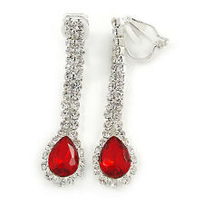 Red/ Clear Crystal Teardrop Clip On Earrings In Silver Tone - 40mm L