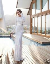 White Ivory Lace Wedding Dresses Long Sleeve Mermaid Bridal Gown Custom Size