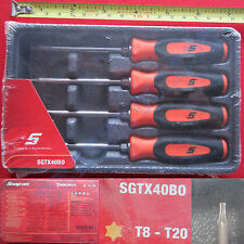 New Snap On Orange Mini Soft Grip Handle Torx Screwdriver 4 Pcs Set SGTX40BO