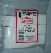 "Pro Shot 500 Cotton Patches 1 1/8"" square 22 223 5.56 6mm 243 270 7mm calibers"