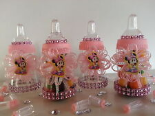 12 Minnie Mouse Fillable Bottles Favors Prizes Games Baby Shower Girl Decoration