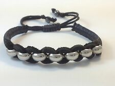 MEN'S Natural Black Leather Silver Beaded Adjustable Shamballa Jewelry Bracelet
