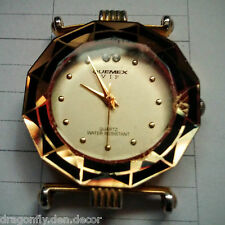 Vintage QUEMEX VIP 18k Gold Plated Water Resistant Quartz Watch WORKS (No Band)