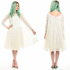 Vtg 50s 60s White Sheer LACE Rockabilly Tulle Full Skirt Cape Prom Wedding Dress