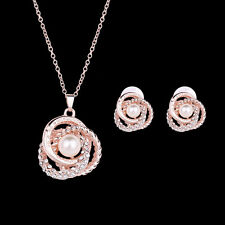African Bride Jewelry Sets Rose Gold Pearl Pendant Drop Necklace+Earring