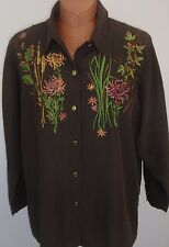 BOB MACKIE WEARABLE ART Brown Embroidered Floral Shirt Size 1X
