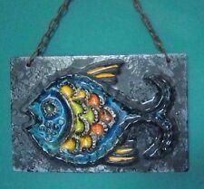 Keramik Bildplatte Fisch Fat Lava Pop Art Wandkeramik 70er an Kette Ruscha?
